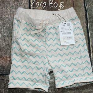 Zara Boys Chevron Shorts Blue Cream NWT
